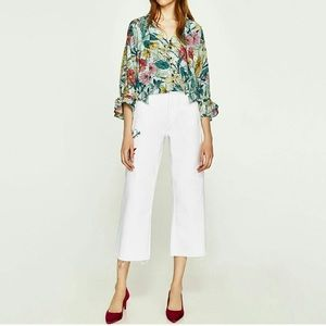 Zara wise leg jeans with fray hem and embroidery